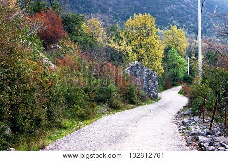 The road in the mountainous area in Montenegro