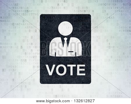Political concept: Painted black Ballot icon on Digital Data Paper background