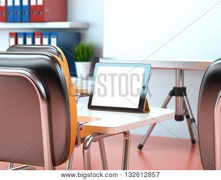 3D Illustration training center with blank tablet. Business workshop. Mockup