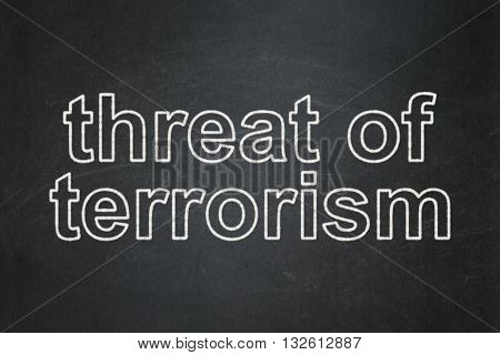 Political concept: text Threat Of Terrorism on Black chalkboard background