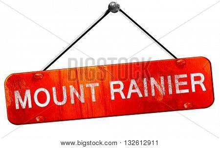 Mount rainier, 3D rendering, a red hanging sign