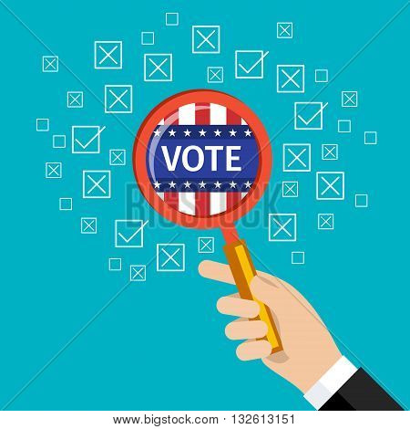 Concept of voting. US Presidential election 2016. Flat design, vector illustration.
