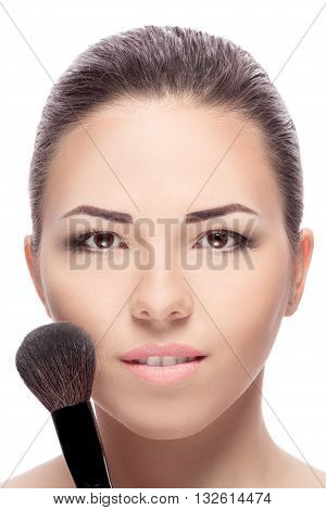 Woman With Makeup Brushes