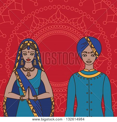 South Asia beautiful woman and man wearing indian traditional cloth, hinduism costume, sari on background outline