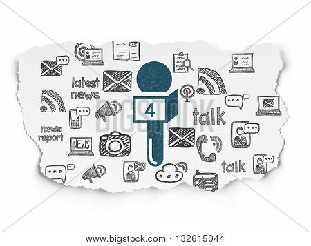 News concept: Painted blue Microphone icon on Torn Paper background with  Hand Drawn News Icons