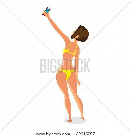 Brunette woman dressed in yellow swimsuit is standing and makes selfie. Back view. Isolated flat cartoon illustration. The comic girl on the beach in yellow bikini with smartphone.