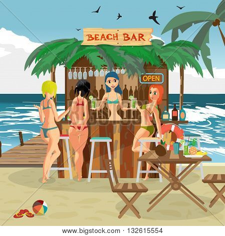 Bar bungalows with bartender woman and three visitor women on the beach ocean coast. Vector flat cartoon illustration. Summer vacation in a tropical beach. Relaxing at the beach bar drinks fruits