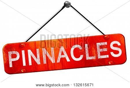 Pinnacles, 3D rendering, a red hanging sign