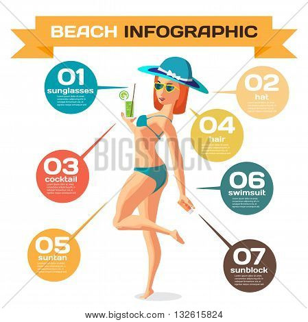Vector Infographic set flat design about woman on the beach. Clothing accessories things on beach and the use. Infographics beach time sunbathe swim leisure favorite