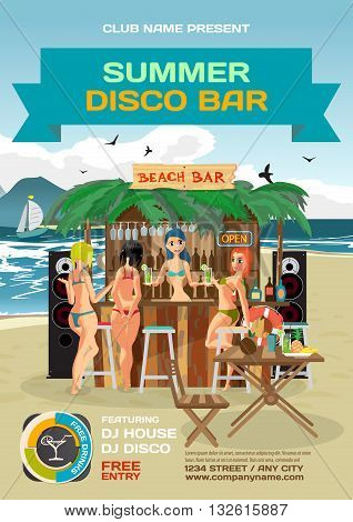 Vector summer party invitation beach disco style. Day beach bar with sound system women's hen party in bikinis. Posters invitations or flyers. Vector template beach summer party poster.