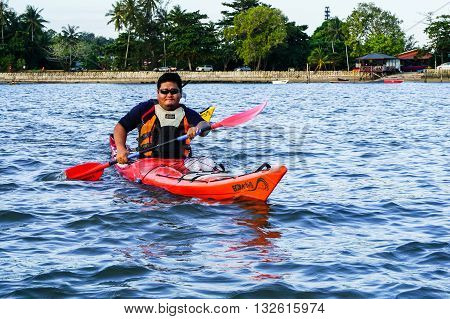 Labuan Malaysia - Jan 30, 2016:Adventurer man exploring sea kayak adventure expedition activity at Labuan Malaysia in conjuction with Hari Wilayah 2016.