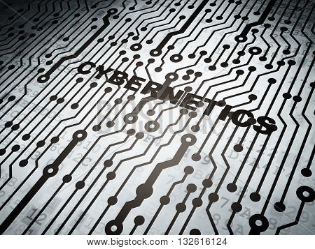 Science concept: circuit board with  word Cybernetics, 3D rendering