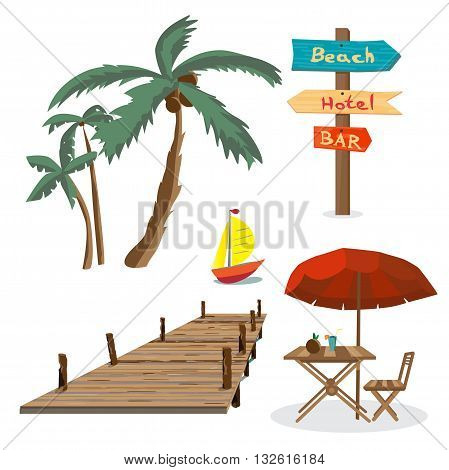 Set of summer beach objects. Summer Holidays. Palm trees a wooden pier a table with an umbrella a wooden pointer yacht