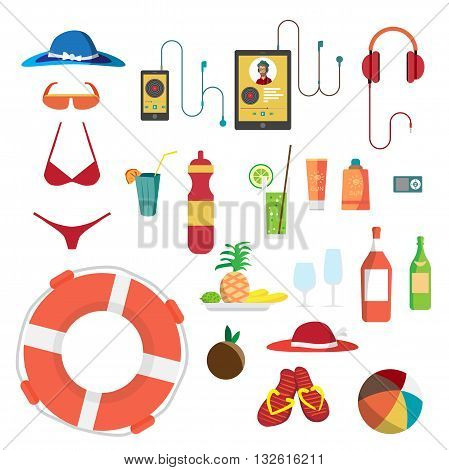 Set of summer beach objects. Summer Holidays. Hat swimsuit sunglasses gadgets food beverages and other items used on the beach