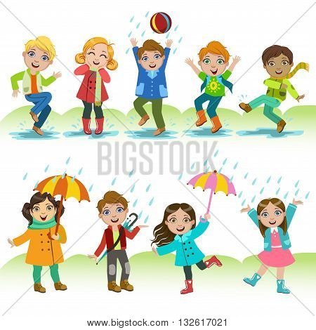 Kids Playing Under The Rain Childish Cartoon Style Cute Vector Illustration On White Background