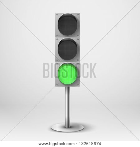 Traffic light vector illustration. green diod traffic light. Template for design