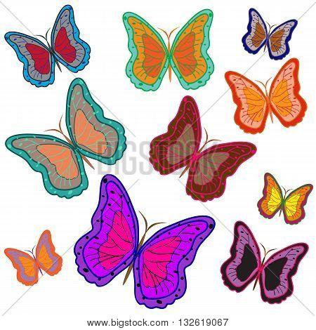 Ten bright motley butterflies isolated on White. Vector illustration.