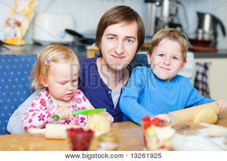 Father And Kids Baking