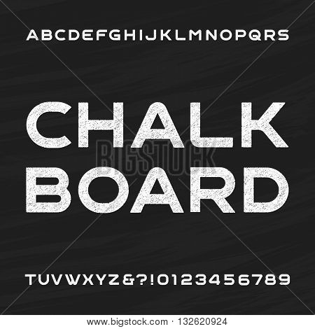 Chalkboard alphabet vector font. Distressed letters and numbers on a chalkboard background. Vector typeface for your design.