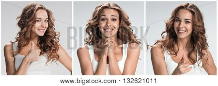 Set of young woman's portraits with different happy emotions on gray background