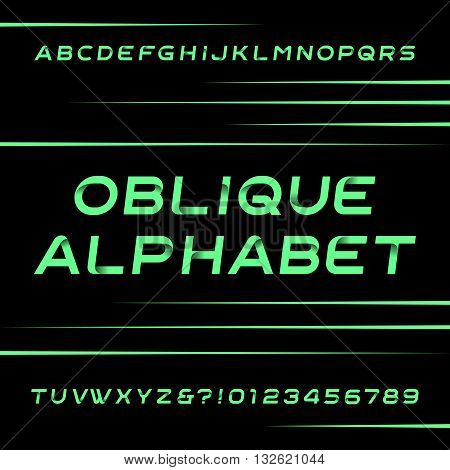 Decorative alphabet vector font. Oblique type letters and numbers. Stock vector typeface for your design. Easy color change.