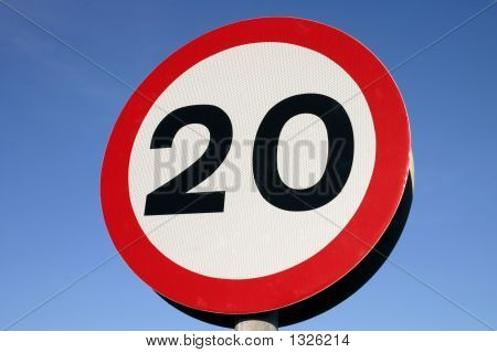 20 Miles Per Hour Speed Limit Sign