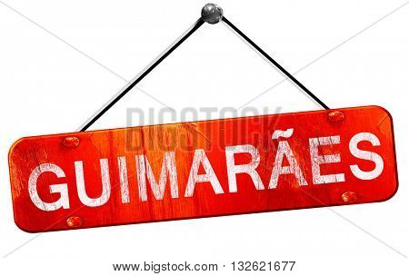 Guimaraes, 3D rendering, a red hanging sign