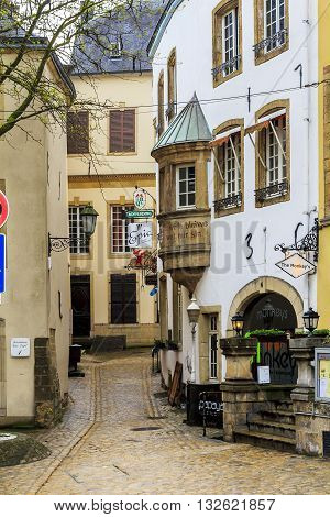 LUXEMBOURG, LUXEMBOURG - MAY 15, 2013: This is one of the typical small alleys of the city.