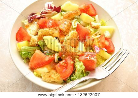 Cold Appetizing Vegetable Salad with Vinegarate Dressing
