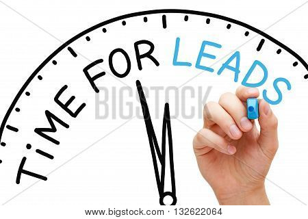 Hand writing Time for Leads with marker on transparent wipe board. Lead generation concept.