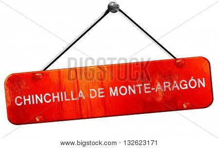 Chinchilla de monte-aragon, 3D rendering, a red hanging sign