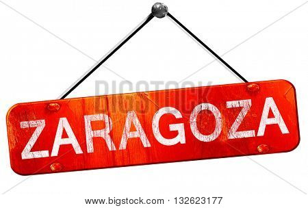 Zaragoza, 3D rendering, a red hanging sign