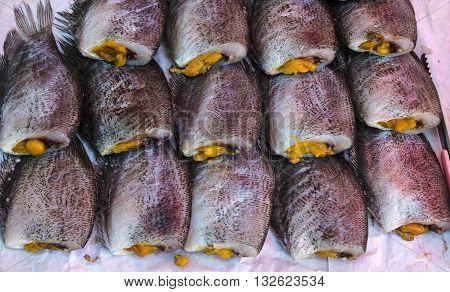sun dried gourami fish in the market