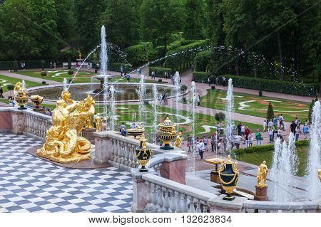 SAINT PETERSBURG, RUSSIA -JUNE 02, 2016: Grand Cascade Fountains and sculptures at Peterhof, near Saint Petersburg. Fountains of Peterhof are one of Russia's most famous tourist attractions