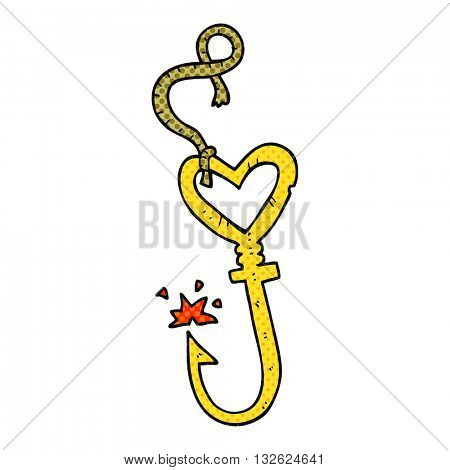 freehand drawn cartoon love heart fish hook