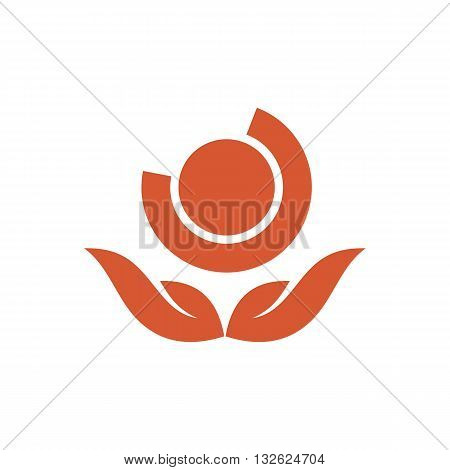 Abstract orange ball bearing vector illustration isolated on white background.