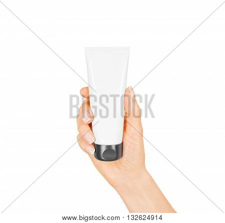 Hand hold blank white tube mock up isolated. Empty cream bottle mockup template holding in hands. Tube design presentation. Skin care mockup. Skincare tube design,