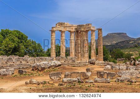 ruins of Zeus temple in  Ancient Nemea, Corinthia