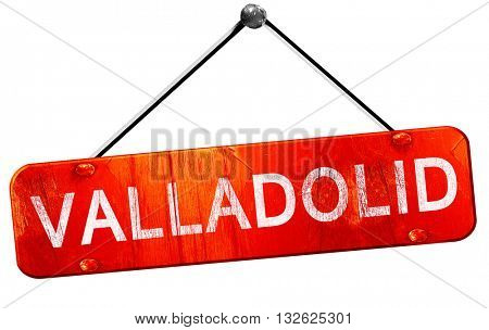 Valladolid, 3D rendering, a red hanging sign