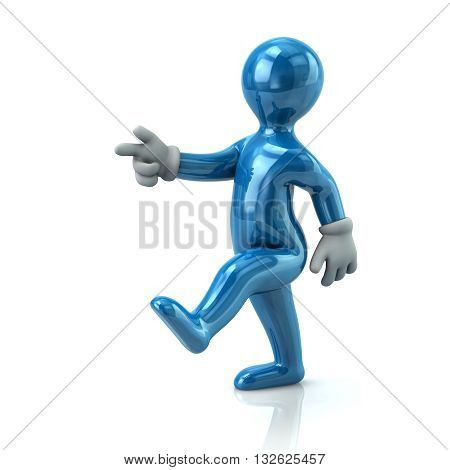 3d illustration. Blue man moving forward for success isolated on white background
