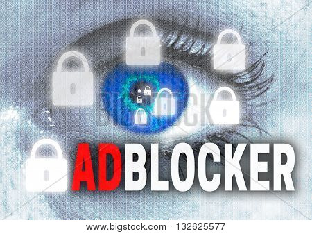 adblocker eye looks at viewer concept background