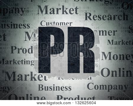 Marketing concept: Painted black text PR on Digital Data Paper background with   Tag Cloud