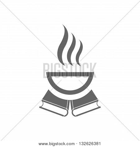 Cup of hot coffe and two books vector illustration isolated on white background.