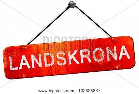 Landskrona, 3D rendering, a red hanging sign