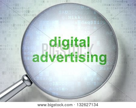 Advertising concept: magnifying optical glass with words Digital Advertising on digital background, 3D rendering