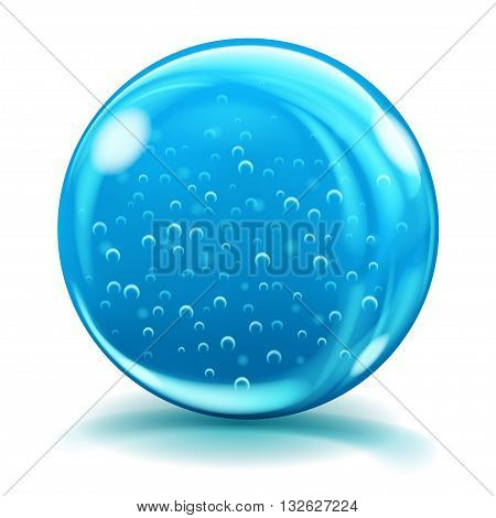 Big Blue Glass Sphere With Air Bubbles