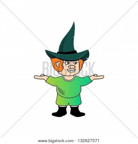 Cartoon style dwarf mascot vector illustration isolated on white background.