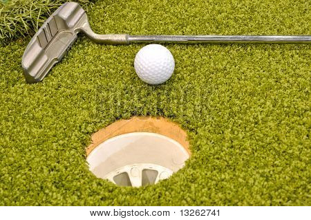 mini golf inside interior, hole, ball & Golf Clubs