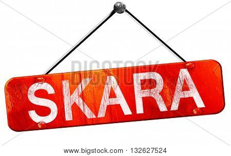 Skara, 3D rendering, a red hanging sign