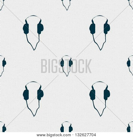 Headphones Icon Sign. Seamless Pattern With Geometric Texture. Vector